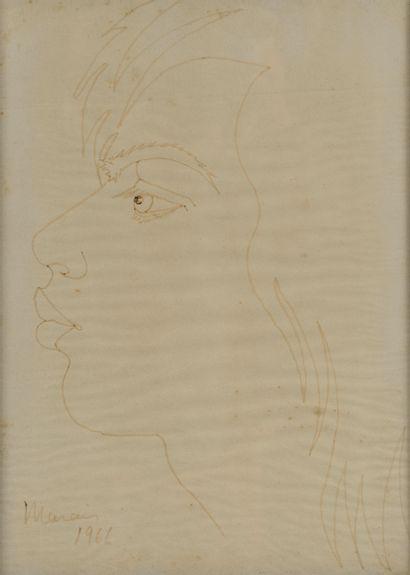 Jean Marais (1913-1998)  Visage, 1966  Feutre,...