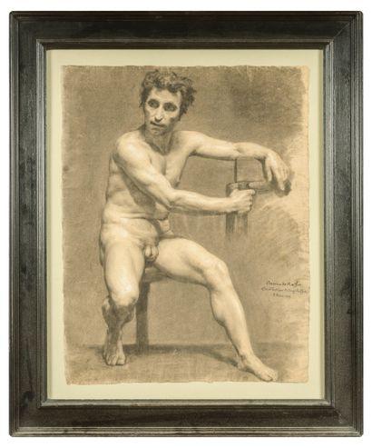Auguste RAFFET (1804-1860)  Académie  Fusain...