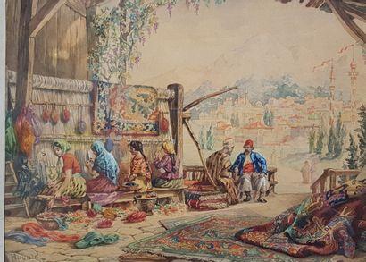 Claude HUGARD (1861-?)  L'atelier de tapis...
