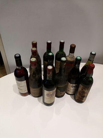 Ensemble de 13 bouteilles divers Bordeaux,...