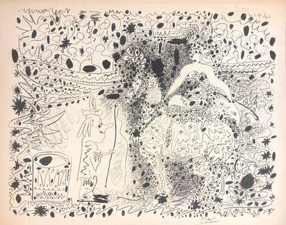 D'après Picasso  Scène de cirque  Lithographie...
