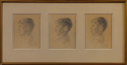 Felix JOFFRE Trois portraits d'enfants crayon...