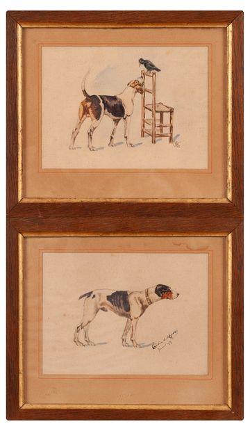 École française, fox, deux aquarelles signées...
