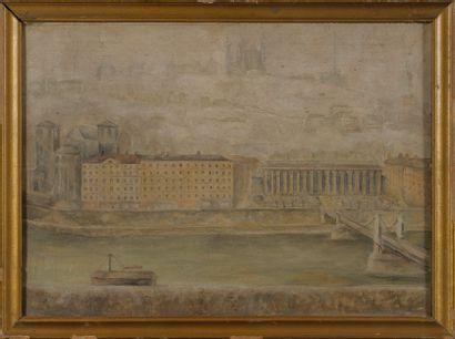 Ecole Moderne  Vue des quai du palais de Justice de Lyon et de la cathédrale de...