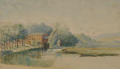 Ecole moderne  Maison en bord de rivière...