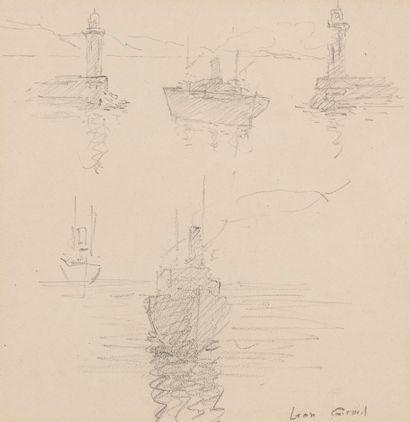 Ecole française du XXe  Etude de bateaux...