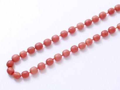 Collier composé d'un rang de perles de corail...
