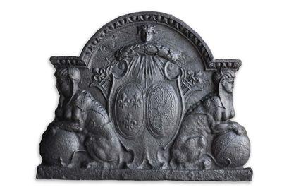 Importante plaque de cheminée Louis 14.  Blason...