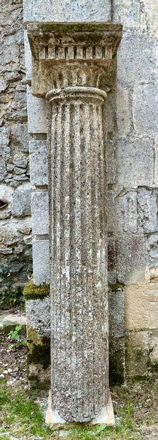 Paire de colonnes d'appliques en pierre à...