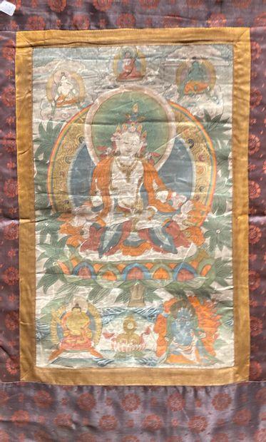 Tanka à décor de bouddha  Détrempe sur tissu...