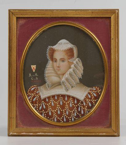Marie Stuart  Gouache  Vers 1900  13 x 10,5...