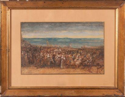 Joseph NAVLET (1821-1889)  Le retour  Aquarelle...
