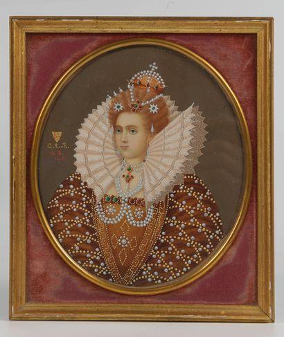 Elisabeth I, Reine d'Angleterre  Gouache...