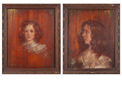 Ecole FRANCAISE vers 1900  Portraits d'enfants...
