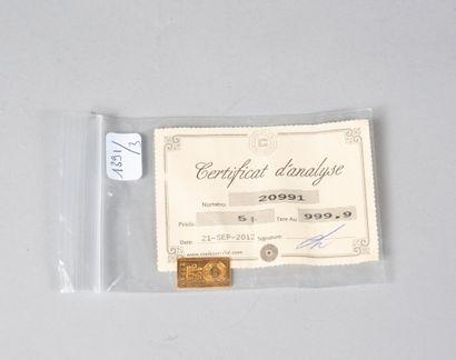 Lingotin en or.  Poids: 5 g  (Certificat...
