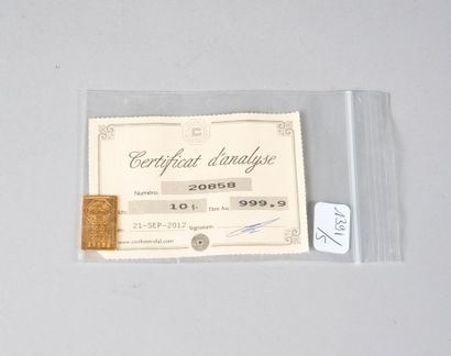 Lingotin en or.  Poids: 10 g  (Certificat...