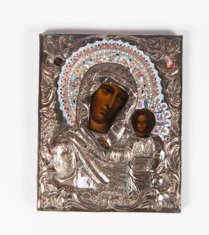 Icone en bois représentant la vie rge à l'enfant,...