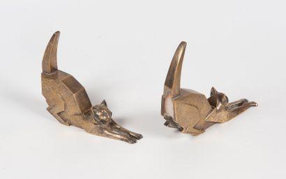 Georges SETTA  Paire de serres livre en bronze...