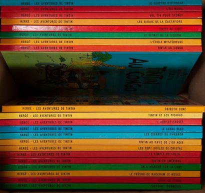 Ensemble d'environ 20 albums de Tintin.