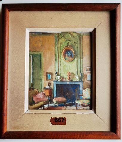 Paul Jean HUGUES (1891-1972)  Vue d'interieur...