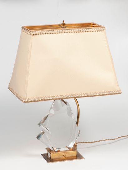 BACCARAT  Lampe  Bronze doré et cristal  Haut....