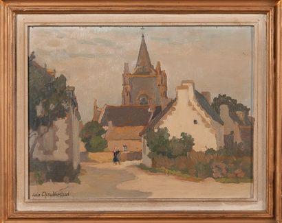 Jane CHAULEUR-OZEEL (1879-1965)  Eglise  Huile...