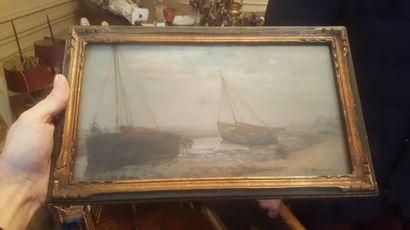 Ecole FRANCAISE vers 1900  Bateaux à marée...