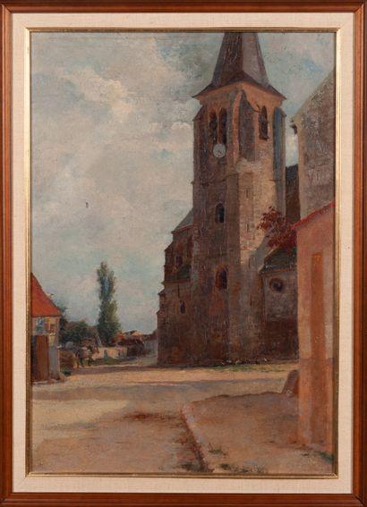 Ecole XIXe  La place de l'église  Huile sur...