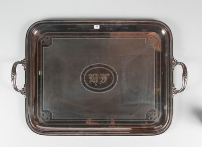 CHRISTOFLE  Grand plat à anses en métal argenté,...