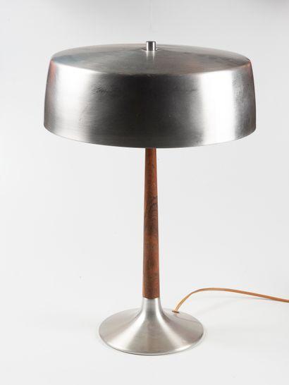 Travail des années 70  Lampe de bureau  Teck...
