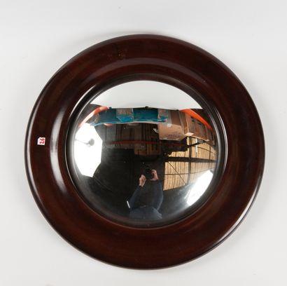 Miroir sorcière en bois vernis  D : 45 c...
