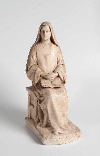 Groupe en plâtre figurant une religieuse...