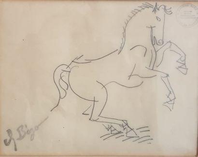 Charles BEGO (1918-1983), Cheval cabré, Mine...