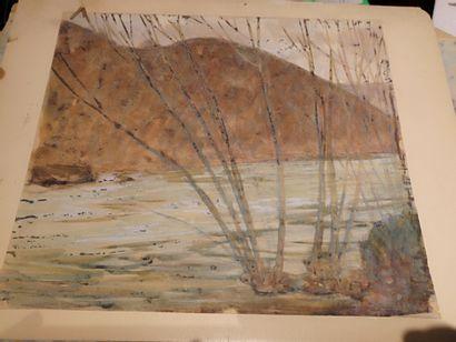 OFFNER  Paysages  Deux aquarelles, signées...