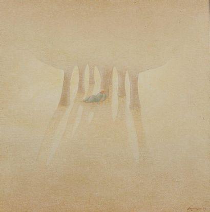 Jean GARONNAIRE (né en 1944) Personnage sous les arbres, huile sur toile, signée...