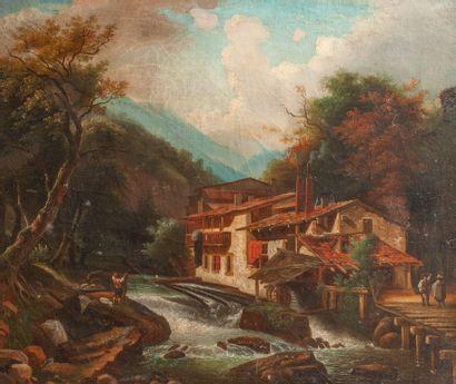 Ecole italienne du XIXeme  Paysage de montagne...