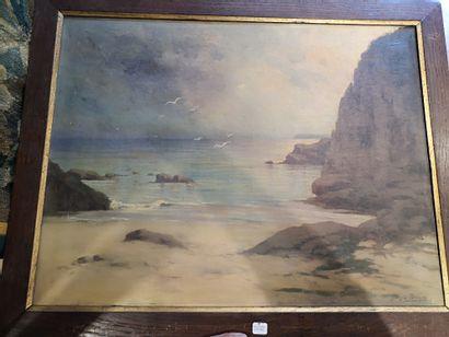 George Drouin,  Falaise, toile signée en bas à droite