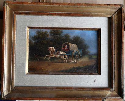 Ecole du XIXe siècle  La charrette  Panneau...