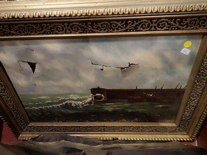 Lot de tableaux divers : vue d'optique, toile, panneau et divers