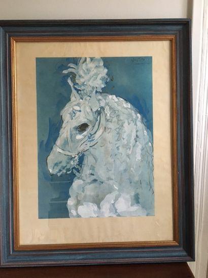 Lot de reproductions encadrées :  Tête de cheval de manège sur fond bleu, portrait...