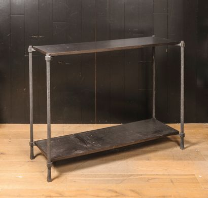 Console en métal et bois laqué noir  Vers...