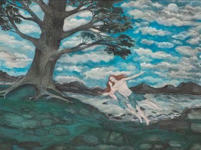 Marcel MARCEAU dit le Mime MARCEAU (1923-2007)  Le vol d'Adam et Eve  Gouache.  Signé...