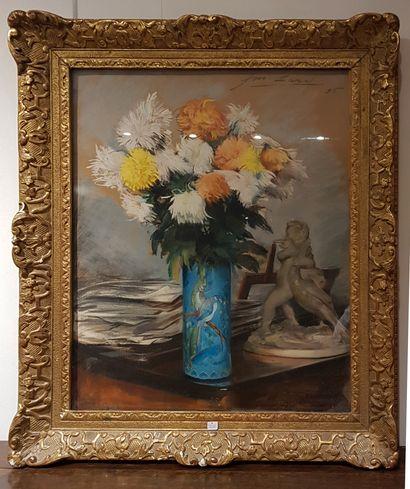 François LARD (1864-1908)  Bouquet de fleurs...