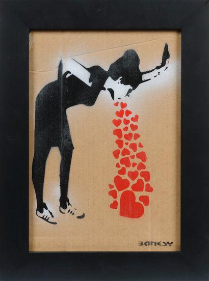 BANKSY (né en 1974)  Girl puking hearts  Signé...