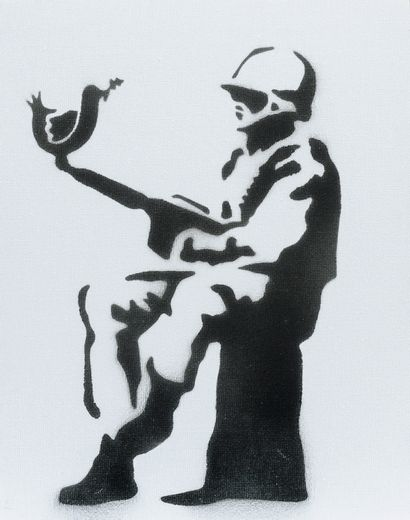 BANKSY (né en 1974)  Soldier  Pochoir sur...