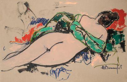 Alain BONNEFOIT (Né en 1937)  Nu allongé...