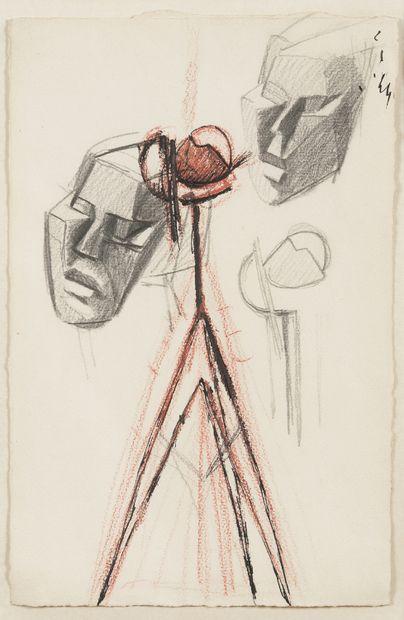 Julio GONZALEZ (1876-1942)  Etude de têtes...