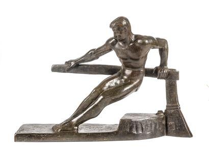 Ecole Art Déco  Le barreur  Epreuve en bronze...