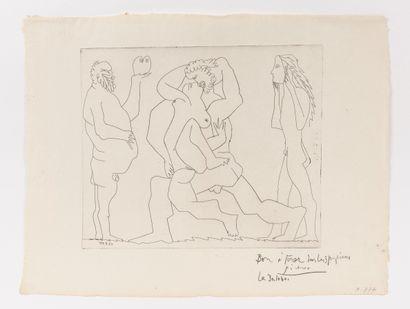 Pablo PICASSO (1881 - 1973)  Couple s'embrassant...