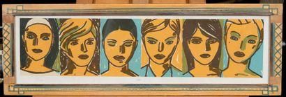 Paul BESSIS.  Suite de six portraits féminins....